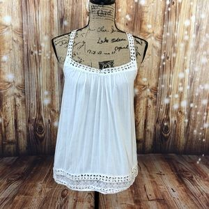 American eagle white cutout crisscross tank top
